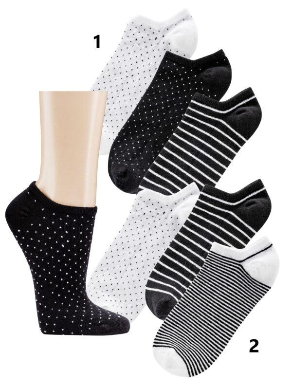 Bombažne nogavice stopalke BLACK AND WHITE 1